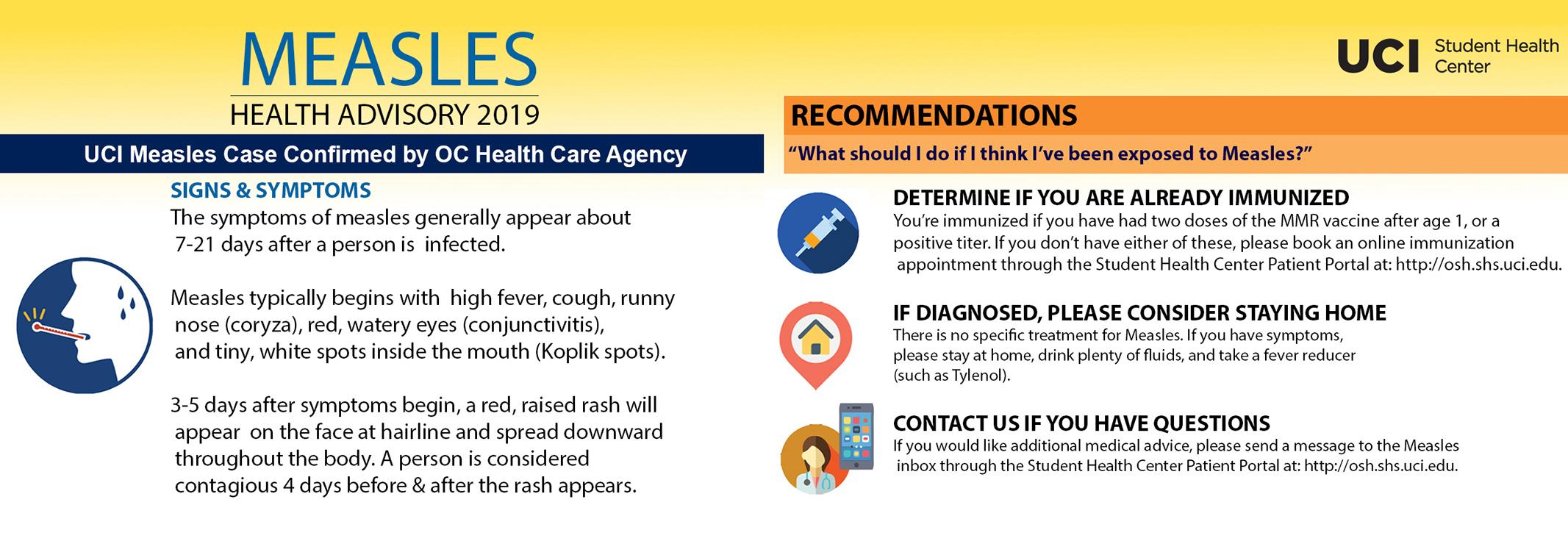 Student Health Center Measles Health Advisory 2019