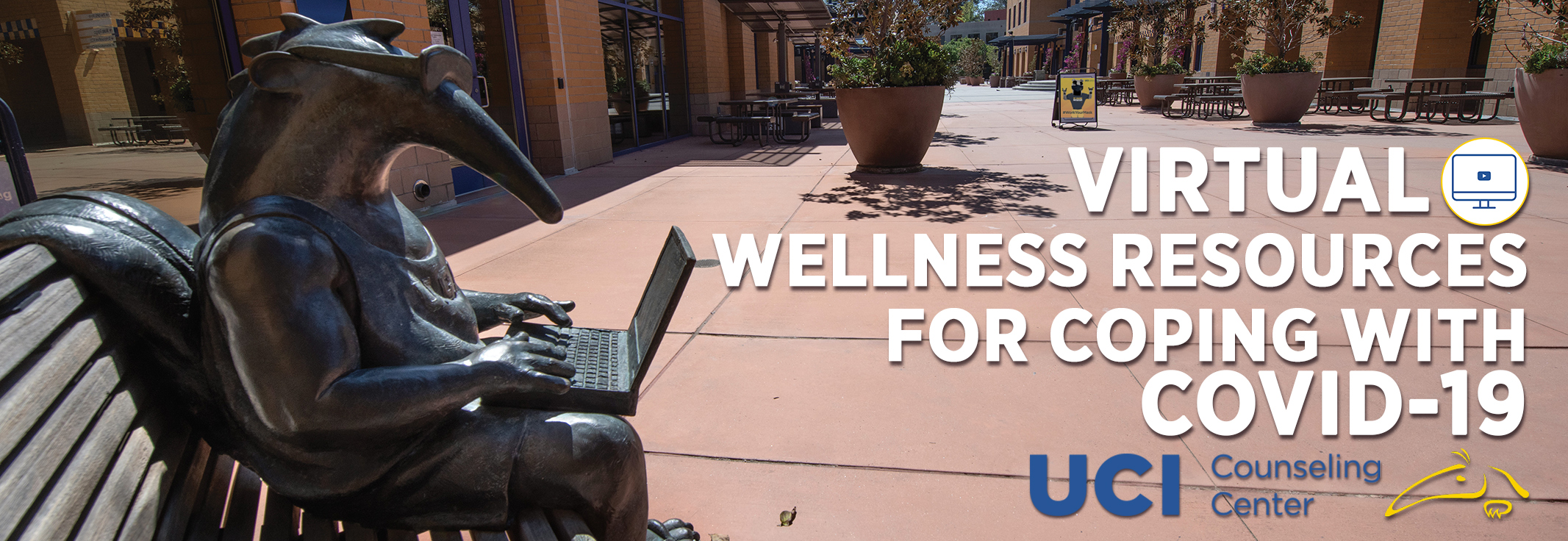 Virtual Wellness Resources for Coping with COVID-19 over image of Student Center terrace Peter statue with laptop