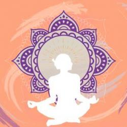 Outline drawing of a person sitting in the lotus position
